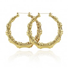 18K Gold Color Hoop Bamboo Earrings For Women EHHK-1001