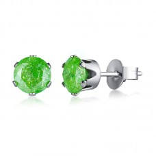 Candy Colors Stainless Steel Jewelry Women Round Cut Stone Stud Earrings