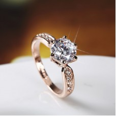 Free Size Simple Office Lady Women Copper With Silver Plated Cz Ring