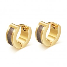 Multi-color shell style gold color surgical steel huggie earrings EH-112