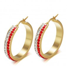 Charming jewelry two rows round cz set gold plating hoop earrings EH-113