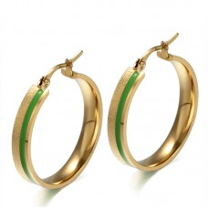 18K Gold Plated Stainless Steel Green Enamel Huggie Hoop Earrings for Men and Women EH-142